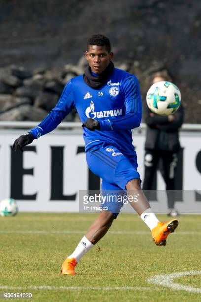 Breel Embolo of Schalke kicks the ball during a training session at the FC Schalke 04 Training center on March 14 2018 in Gelsenkirchen Germany