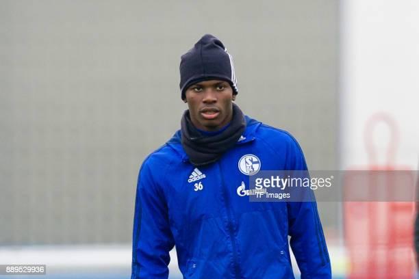Breel Embolo of Schalke looks on during a training session at the FC Schalke 04 Training center on December 05 2017 in Gelsenkirchen Germany