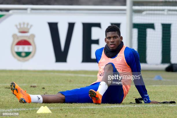 Breel Embolo of Schalke looks on during a training session at the FC Schalke 04 Training center on March 14 2018 in Gelsenkirchen Germany