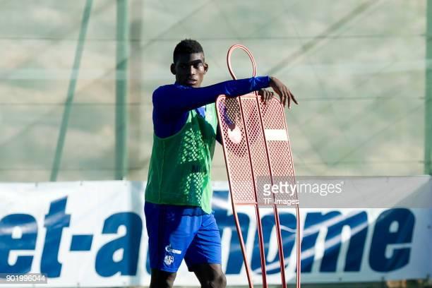 Breel Embolo of Schalke looks on during the FC Schalke 04 training camp at Hotel Melia Villaitana on January 05 2018 in Benidorm Spain