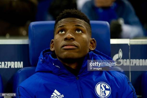 Breel Embolo of Schalke looks on prior to the Bundesliga match between FC Schalke 04 and FC Augsburg at VeltinsArena on December 13 2017 in...