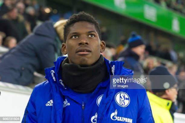 Breel Embolo of Schalke looks on prior to the Bundesliga match between VfL Wolfsburg and FC Schalke 04 at Volkswagen Arena on March 17 2018 in...