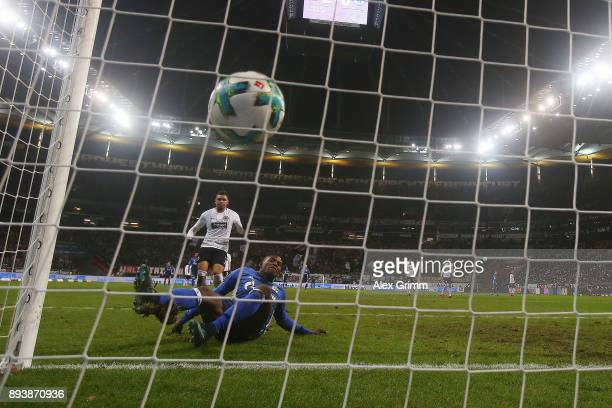 Breel Embolo of Schalke scores a goal to make it 21 during the Bundesliga match between Eintracht Frankfurt and FC Schalke 04 at CommerzbankArena on...