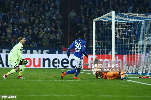 Breel Embolo of Schalke scores a goal which was later disallowed for offside during the Bundesliga match between FC Schalke 04 and TSG 1899...