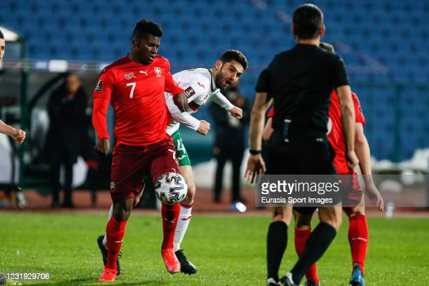 Breel Embolo of Switzerland against Valentin Antov of Bulgaria during the FIFA World Cup 2022 Qatar qualifying match between Bulgaria and Switzerland...