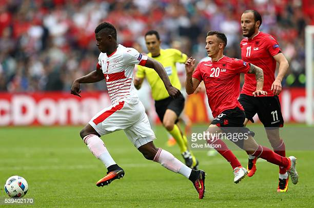 Breel Embolo of Switzerland and Ergys Kace of Albania compete for the ball during the UEFA EURO 2016 Group A match between Albania and Switzerland at...