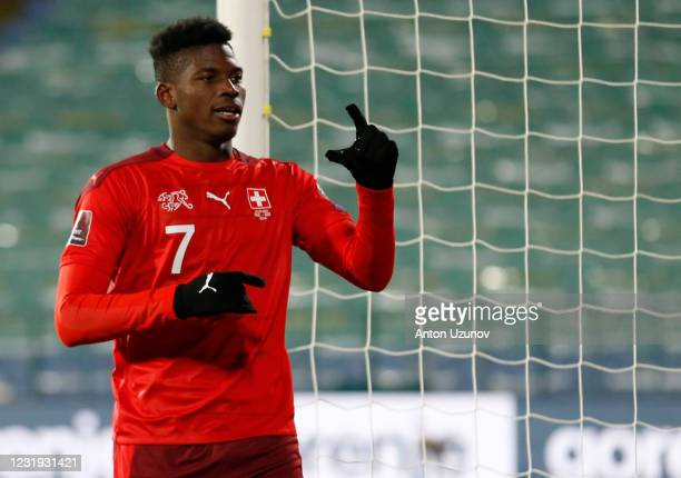 Breel Embolo of Switzerland celebrates their first goal during the FIFA World Cup 2022 Qatar qualifying match between Bulgaria and Switzerland at...