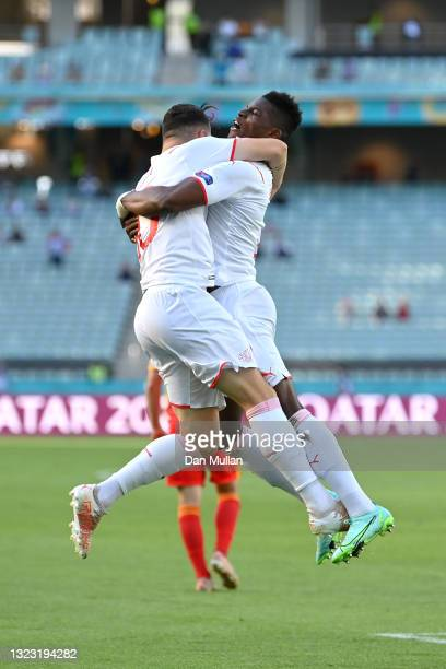 Breel Embolo of Switzerland celebrates with Granit Xhaka after scoring their side's first goal during the UEFA Euro 2020 Championship Group A match...