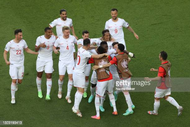 Breel Embolo of Switzerland celebrates with Granit Xhaka and team mates after scoring their side's first goal during the UEFA Euro 2020 Championship...