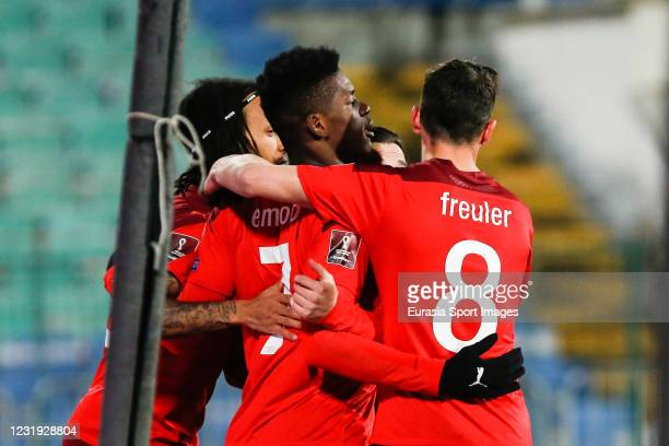 Breel Embolo of Switzerland celebrates with his team-mates after scoring a goal during the FIFA World Cup 2022 Qatar Qualifier between Bulgaria and...