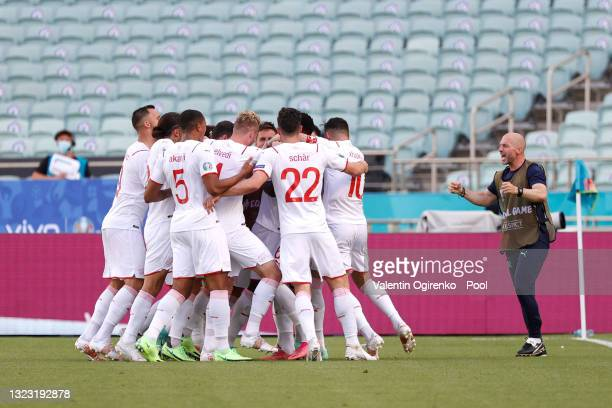 Breel Embolo of Switzerland celebrates with team mates after scoring their side's first goal during the UEFA Euro 2020 Championship Group A match...