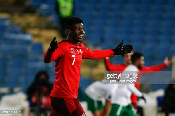 Breel Embolo of Switzerland gestures during the FIFA World Cup 2022 Qatar qualifying match between Bulgaria and Switzerland at Vasil Levski National...