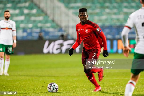 Breel Embolo of Switzerland in action during the FIFA World Cup 2022 Qatar qualifying match between Bulgaria and Switzerland at Vasil Levski National...