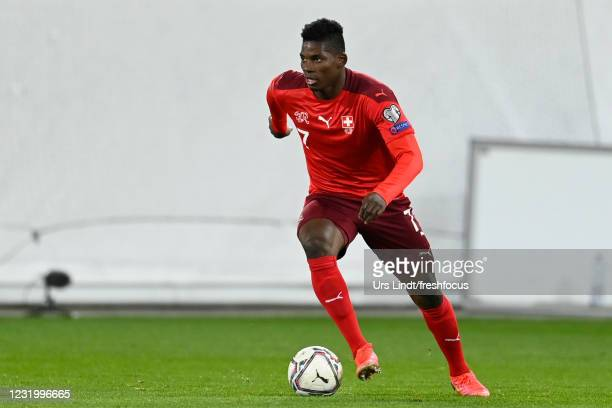 Breel Embolo of Switzerland in action during the FIFA World Cup 2022 Qatar qualifying match between Switzerland and Lithuania at Kybunpark on March...