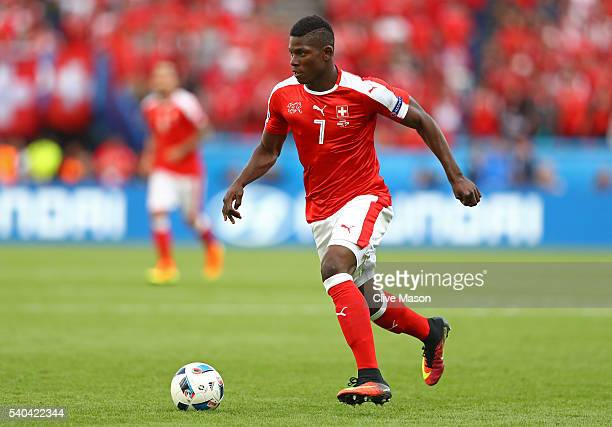 Breel Embolo of Switzerland in action during the UEFA EURO 2016 Group A match between Romania and Switzerland at Parc des Princes on June 15 2016 in...