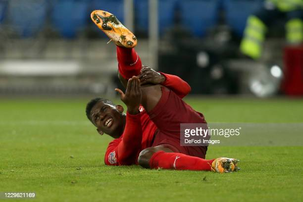 Breel Embolo of Switzerland injured during the UEFA Nations League group stage match between Switzerland and Spain at St. Jakob-Park on November 14,...