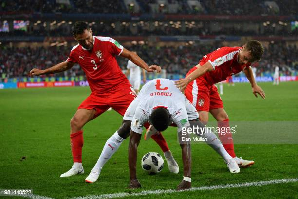 Breel Embolo of Switzerland is challenged by Dusko Tosic of Serbia and Adem Ljajic of Serbia during the 2018 FIFA World Cup Russia group E match...