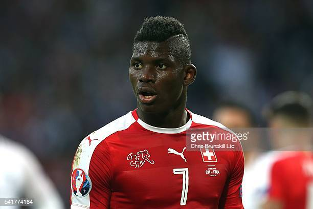 Breel Embolo of Switzerland looks on during the UEFA Euro 2016 Group A match between the Switzerland and France at Stade PierreMauroy on June 19 2016...