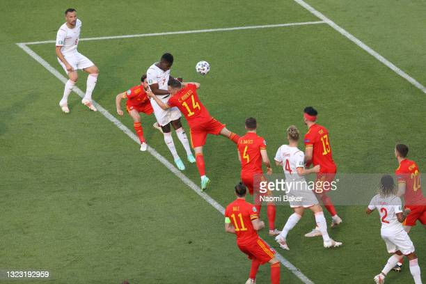 Breel Embolo of Switzerland scores their side's first goal during the UEFA Euro 2020 Championship Group A match between Wales and Switzerland at the...