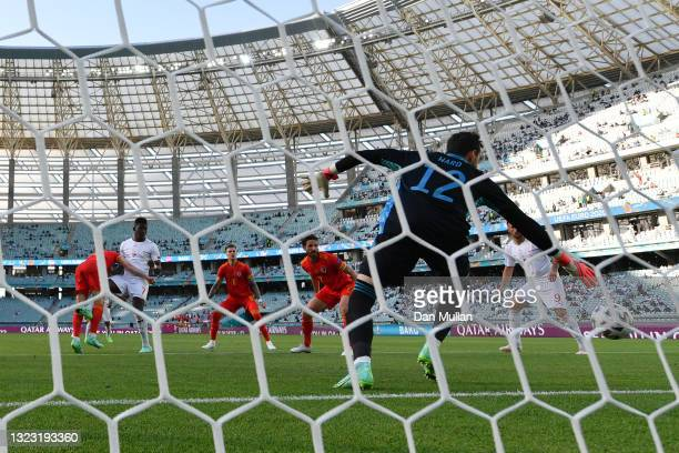 Breel Embolo of Switzerland scores their side's first goal past Danny Ward of Wales during the UEFA Euro 2020 Championship Group A match between...