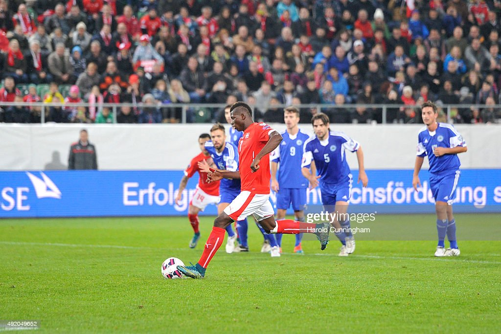 Breel Embolo of Switzerland shoots the third penalty during the UEFA EURO 2016 qualifier between Switzerland and San Marino at AFG Arena on October 9, 2015 in St Gallen, Switzerland.