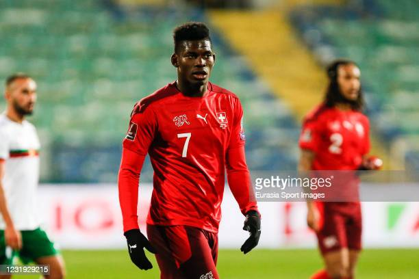 Breel Embolo of Switzerland walks on the field during the FIFA World Cup 2022 Qatar qualifying match between Bulgaria and Switzerland at Vasil Levski...