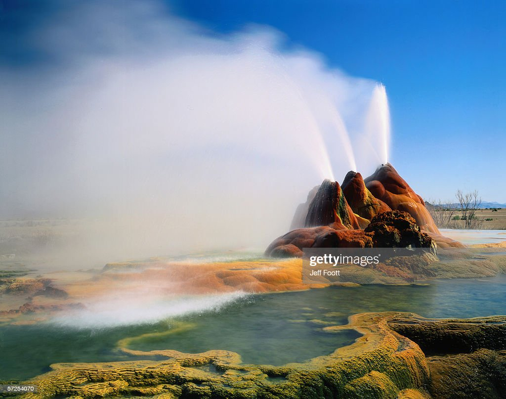 Breeze Gently Blows Water Spewing From Geysers In The Great Basin Black Rock Deserthigh Rock Canyon Emigrant Trails National Conservation Area Nevada High Res Stock Photo Getty Images