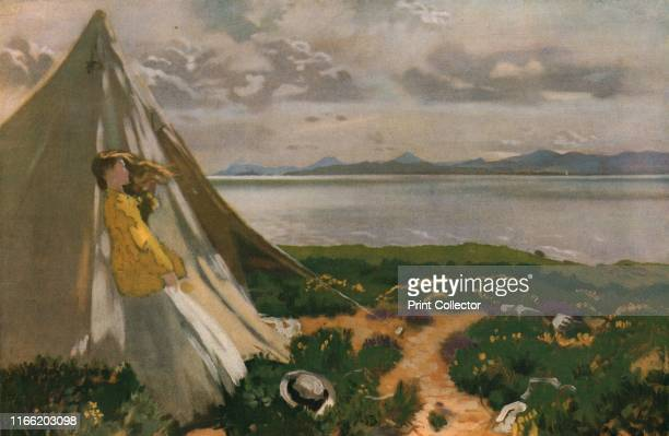 Howth Head' early 20th century Woman looking out to the Irish Sea at Howth Head a peninsula on the east coast of Ireland Painting in the Dublin City...