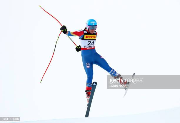 Breezy Johnson of the United States competes during the Women's Super G during the FIS Alpine World Ski Championships on February 7 2017 in St Moritz...
