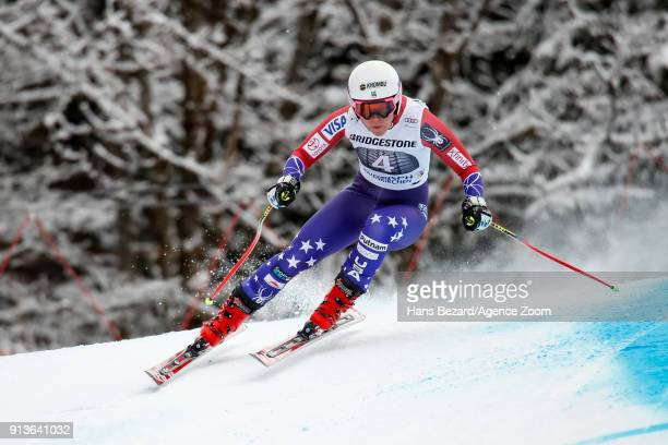 Breezy Johnson of USA competes during the Audi FIS Alpine Ski World Cup Women's Downhill on February 3 2018 in GarmischPartenkirchen Germany
