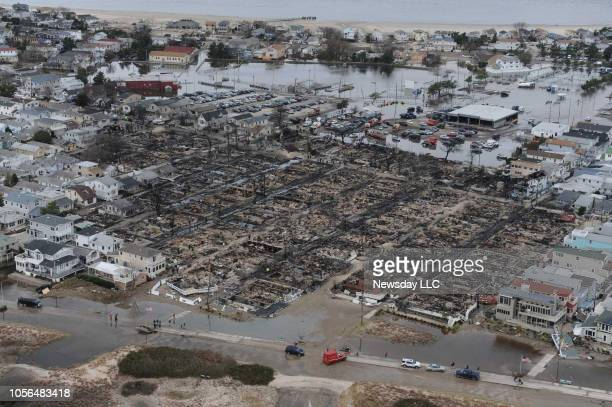 Breezy Point, Queens, N.Y.: Aerial view of Breezy Point area of Queens, New York shows the devastation and destruction left by the fire and fllooding...