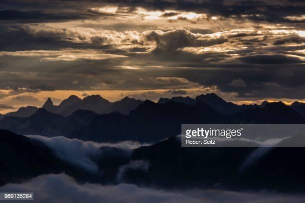 bregenzerwald mountains with clouds below, morning, au, bregenz forest, vorarlberg, austria - vorarlberg stock-fotos und bilder
