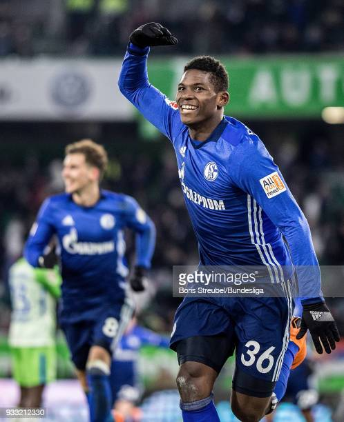 Brei Embolo of FC Schalke 04 celebrates after scoring his team's first goal during the Bundesliga match between VfL Wolfsburg and FC Schalke 04 at...