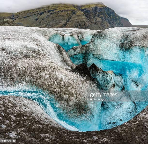breidamerkurjokull glacier, iceland - crevasse stock photos and pictures