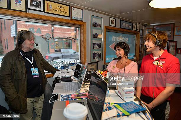 Breitbart News Daily host Stephen K Bannon interviews Red Arrow Diner Owner Carol Lawrence and her son Tyler for SiriusXM Broadcasts' New Hampshire...