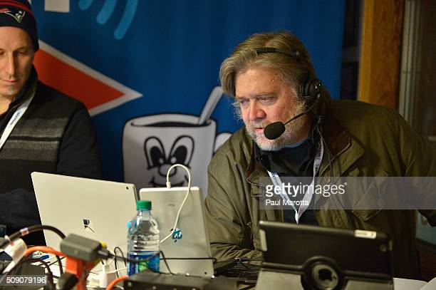 Breitbart News Daily host Stephen K Bannon live on air at SiriusXM Broadcasts' New Hampshire Primary Coverage Live From Iconic Red Arrow Diner on...