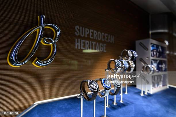 Breitling Superocean Heritage watches are displayed during the BaselWolrd watch fair on March 23 2018 in Basel Switzerland The annual watch trade...