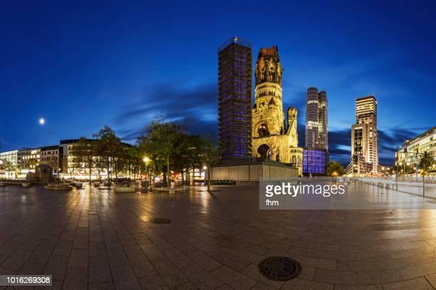 breitscheidplatz at blue hour - berlin skyline  (germany) - kurfürstendamm stock pictures, royalty-free photos & images
