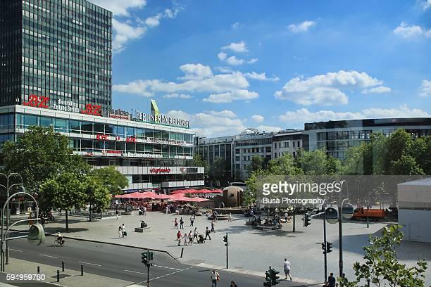 breitscheidplatz in city west, district of charlottenburg, berlin, germany - limestone pavement stockfoto's en -beelden
