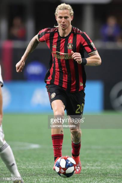 Brek Shea of Atlanta United dribbles up the field during the second half of the game between Atlanta United and Philadelphia Union at MercedesBenz...