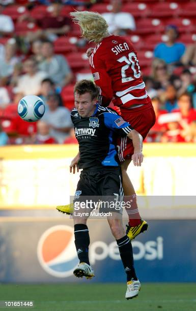 Brek Shea of FC Dallas fights for a header against Chris Leitch of the San Jose Earthquake at Pizza Hut Park on June 5 2010 in Frisco Texas