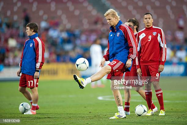 Brek Shea of FC Dallas warms up before facing the Vancouver Whitecaps FC on September 15 2012 at FC Dallas Stadium in Frisco Texas