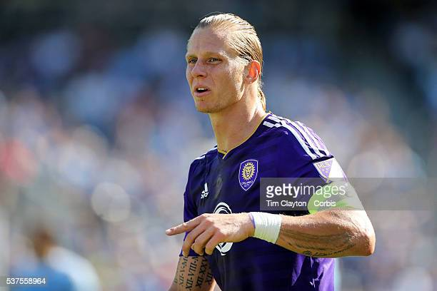 Brek Shea of Orlando City FC during the New York City FC Vs Orlando City MSL regular season football match at Yankee Stadium The Bronx May 29 2016 in...