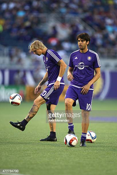 Brek Shea of Orlando City SC and Kaka of Orlando City SC warm up prior to an MLS soccer match between the New England Revolution and the Orlando City...