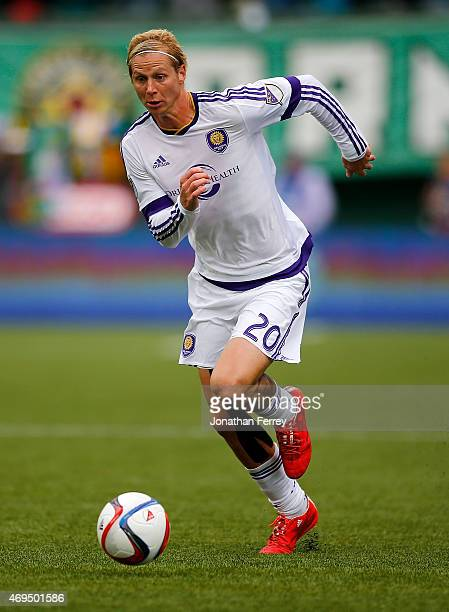 Brek Shea of Orlando City SC dribbles the ball against the Portland Timbers at Providence Park on April 12 2015 in Portland Oregon