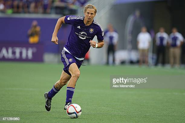 Brek Shea of Orlando City SC dribbles the ball during an MLS soccer match between Toronto FC and the Orlando City SC at the Orlando Citrus Bowl on...