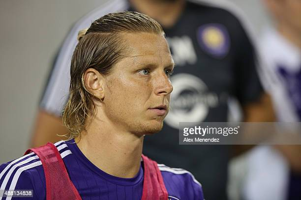 Brek Shea of Orlando City SC is seen warming up during a MLS soccer match between Sporting Kansas City and the Orlando City SC at the Orlando Citrus...