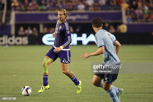 Brek Shea of Orlando City SC runs with the ball during a MLS soccer match between Sporting Kansas City and the Orlando City SC at the Orlando Citrus...