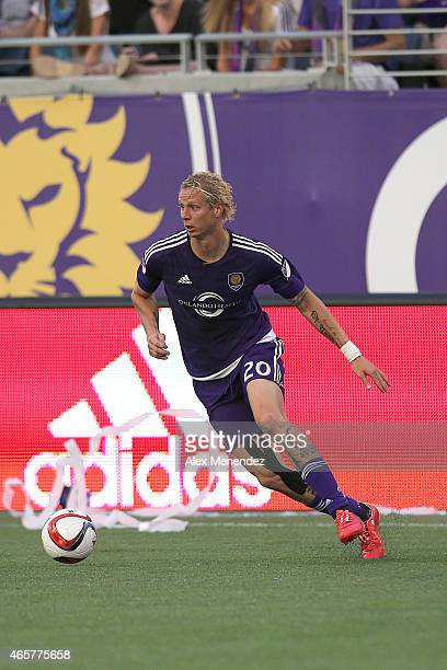 Brek Shea of Orlando City SC runs with the ball during an MLS soccer match between the New York City FC and the Orlando City SC at the Orlando Citrus...