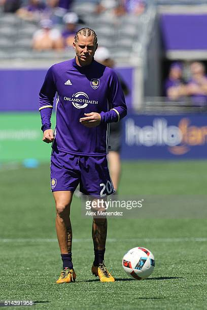 Brek Shea of Orlando City SC warms up prior to a MLS soccer match against Real Salt Lake at the Orlando Citrus Bowl on March 6 2016 in Orlando...